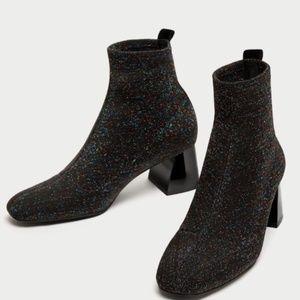 Zara ankle sock style glitter heel booties 7.5